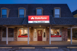 Exterior twilight image of State Farm office in Wichita Falls, TX