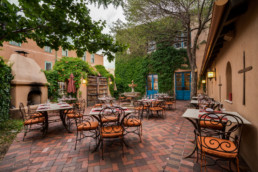 Market Steer Steakhouse's patio at St. Francis Hotel in Santa Fe, New Mexico