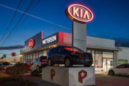 Commercial photo of Patterson KIA storefront in Wichita Falls, TX