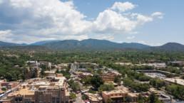 Aerial image of Santa Fe, New Mexico