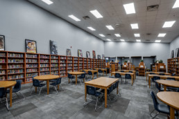 Library interior at City View High School