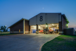 Commercial architectural photograph of a exterior at Fire Station #8 in Wichita Falls, TX for local architecture firm