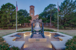 Commercial photograph of Liberty Bell Plaza at MSU in Wichita Falls, TX for local architecture firm