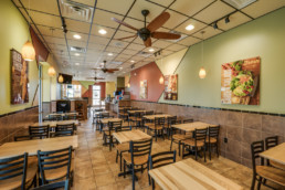 Commercial interior photograph of Golden Chick in Wichita Falls, TX for local architecture firm