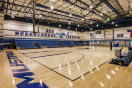 Commercial interior of a high school gymnasium at CVISD in Wichita Falls, TX