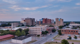 Drone image of downtown Wichita Falls, TX