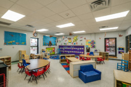 Commercial interior photograph of a classroom at Holliday ISD for local Wichita Falls construction company