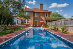 A real estate photograph of a pool at real estate listing in Wichita Falls, TX
