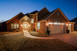 A house at night in Wichita Falls, TX - photographed for a real estate photography listing in Texas