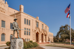 Commercial exterior photograph of Memorial Auditorium in Wichita Falls, TX