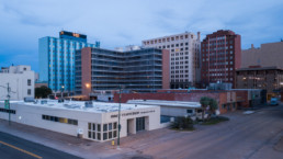 Aerial stock photograph of downtown Wichita Falls, TX